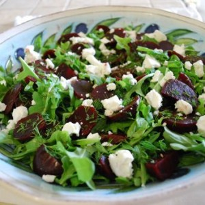 Beet & Arugula Salad with Feta and Fresh Dill