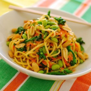 Peanut Noodle Salad with Broccolette and Edamame