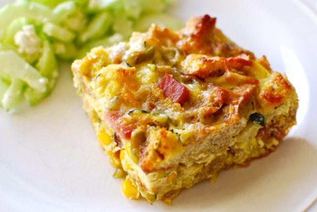 breakfast strata with ham zucchini and fresh corn