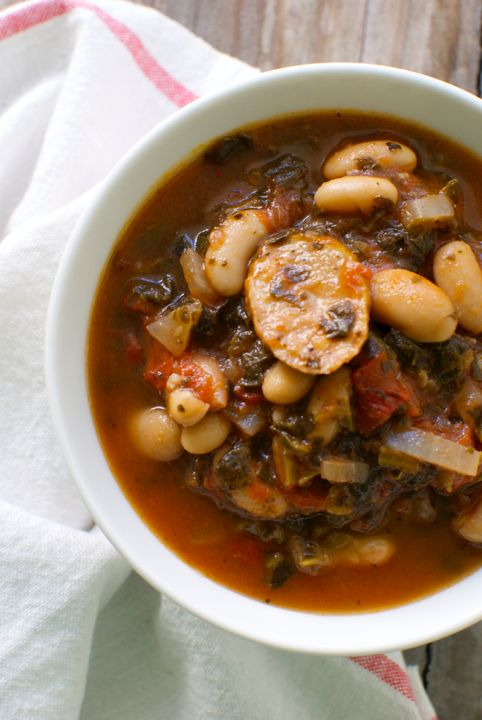 White Bean and Sausage Stew with Wilted Greens - Eating Made Easy