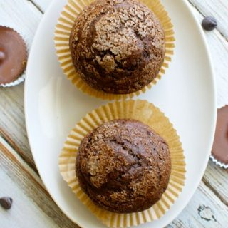 Double Chocolate Peanut Butter Cup Muffins
