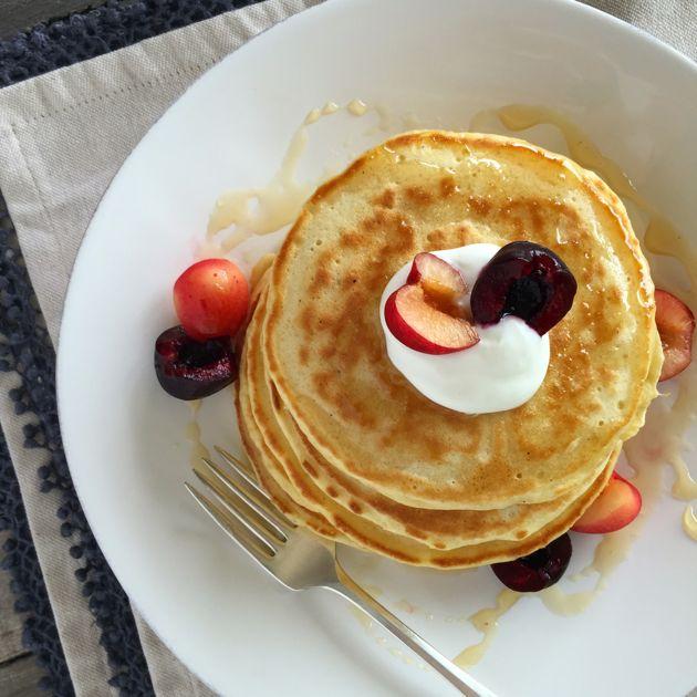 Cardamom Pancakes with yogurt and fresh cherries