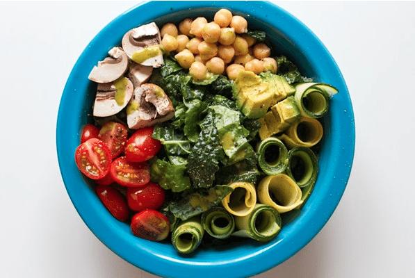 Summer veggie salad with garden herb vinaigrette
