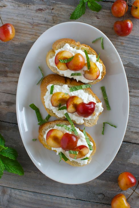Crostini with Ricotta Cherries and Mint