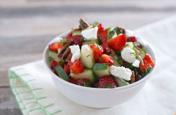 Strawberry Cucumber Salad with Feta and Dill