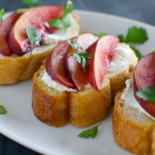 Nectarine and Goat Cheese Crostini with Fresh Parsley