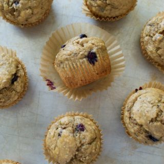 Low Sugar Blueberry Banana Muffins