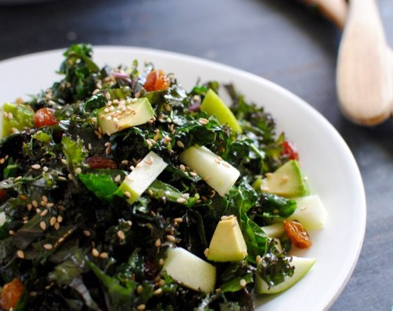 kale salad with avocado