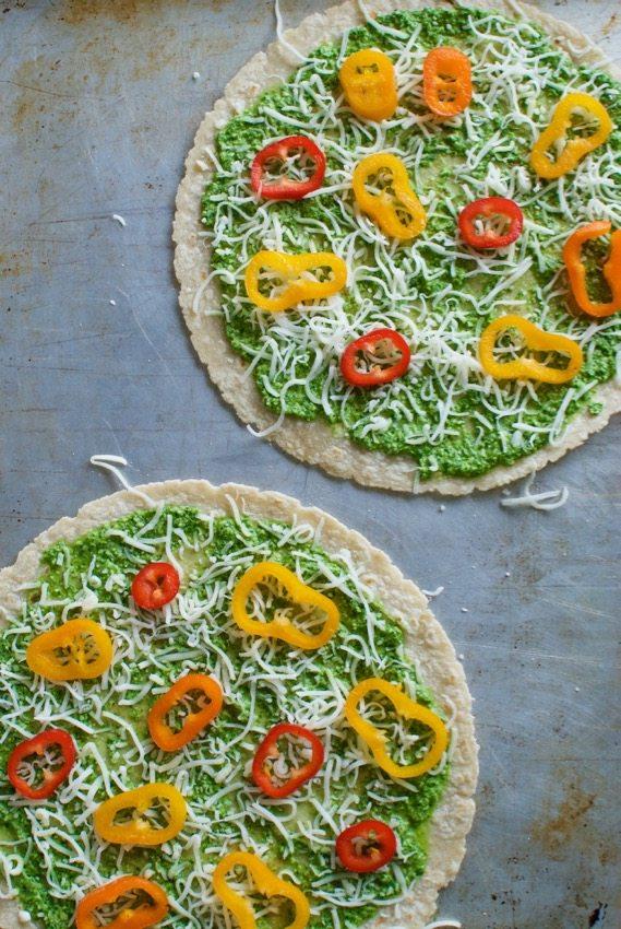 tortilla pizza with hemp seed pesto