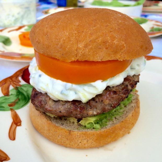 zucchini burger with zucchini tzaziki