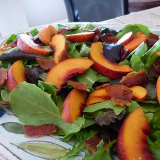 Baby Greens with Nectarines and Maple Bacon
