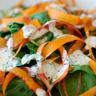 Quick Spinach Salad with Greek Yogurt Dressing