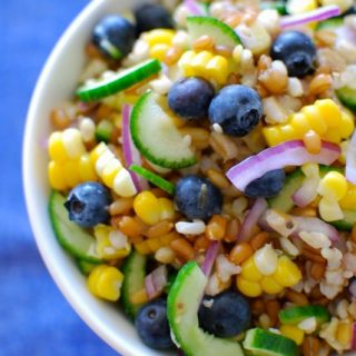 Ancient Grains Salad with Blueberries and Fresh Corn