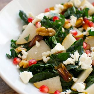 Kale Salad with Asian Pear, Pomegranate and Dates