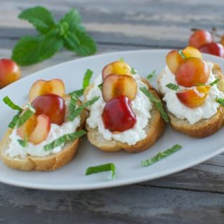 Crostini with Ricotta, Cherries and Mint