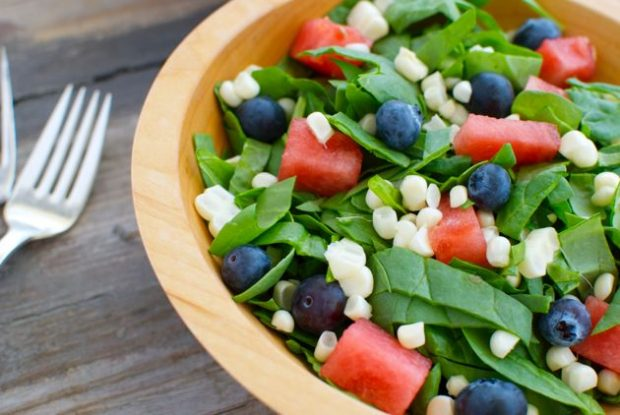 Spinach Salad with Watermelon, Blueberries and Corn
