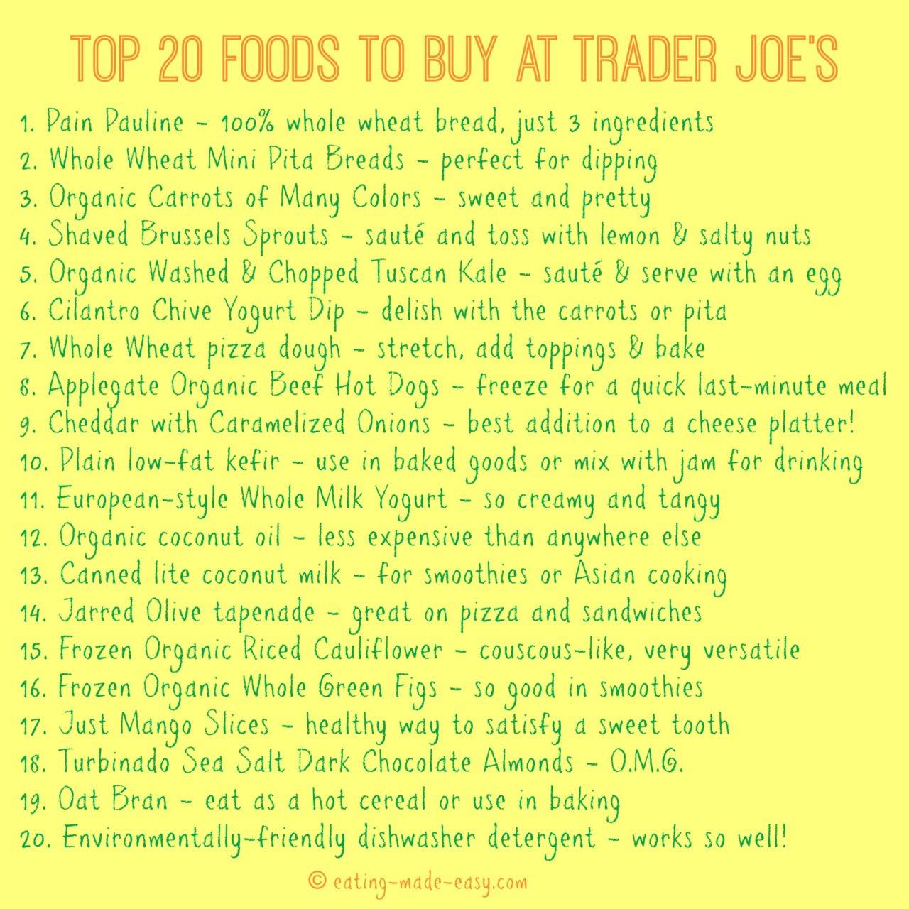 Trader Joe's Shopping List | Eating Made Easy