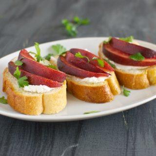 Nectarine and Goat Cheese Crostini with Fresh Parsley