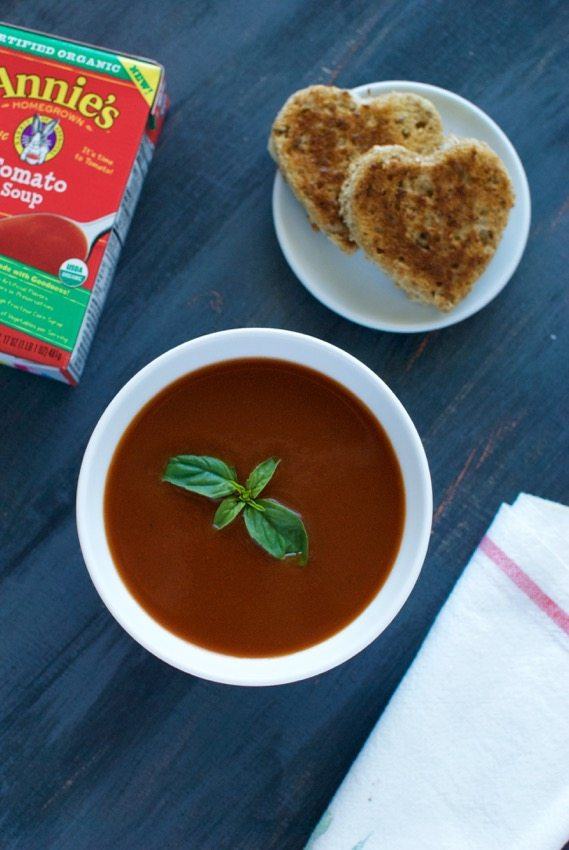 Tomato Soup with Heart-Shaped Grilled Cheese