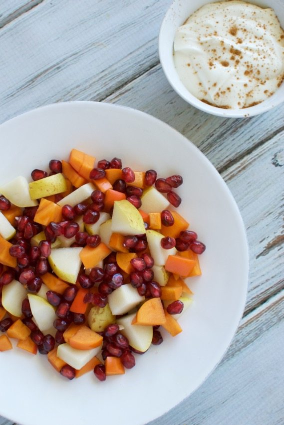 fall fruit salad with maple fruit dip