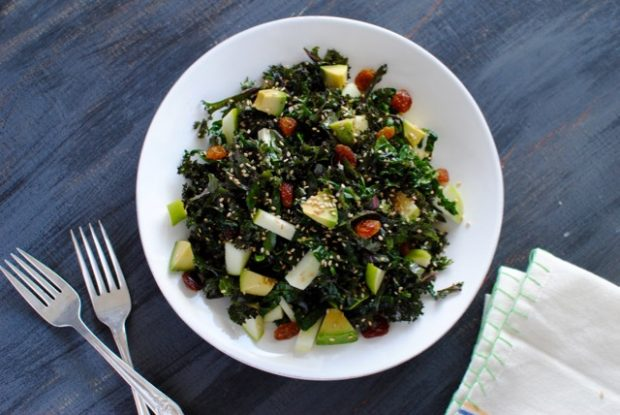 kale salad with avocado and sesame