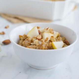 Pear and Almond Butter Baked Oatmeal
